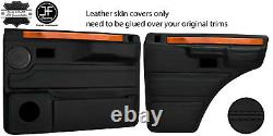 Black Stitch 2x Front & 2x Rear Door Card Leather Covers For Range Rover Classic