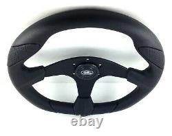 Genuine Momo Quark 350mm black PU and leather steering wheel for Land Rover