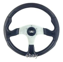 Genuine Momo Race 350mm black leather steering wheel. Land Rover centre. 14A